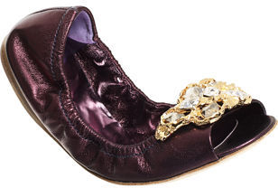 Miu Miu Jeweled Peep Toe Ballet Flat - Purple