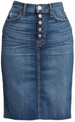 Hudson Remi High Waist Fray Hem Denim Pencil Skirt