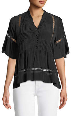 Sea Cecile V-Neck Short-Sleeve Pleated Blouse