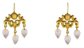Robin Rotenier 18K Rose Quartz Chandelier Earrings