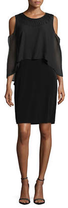 LORI MICHAELS Chiffon Overlay Cold-Shoulder Dress
