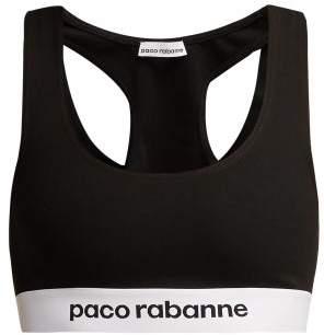 Paco Rabanne Logo Jacquard Sports Bra - Womens - Black