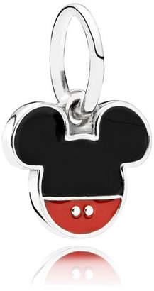 Pandora Disney, Mickey Icon Pendant Charm - Enamel / Sterling Silver / Black / Red
