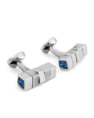 Ermenegildo Zegna Square Rotating Bar Cuff Links w/ Crystals, Silver/Blue