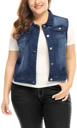 uxcell Agnes Orinda Women's Plus Size Chest Pockets Single Breasted Denim Vest