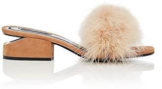 Alexander Wang Women's Lou Suede & Feather Slide Sandals $495 thestylecure.com