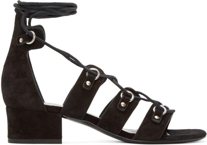 Saint Laurent Black Suede Babies Short Gladiator Sandals