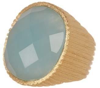 Rivka Friedman 18K Gold Clad Caribbean Blue Quartzite Satin Ribbed Ring