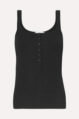 Vince Henley Ribbed Cotton-jersey Tank - Black