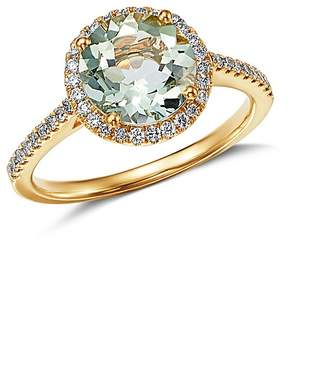 Kiki McDonough 18K Yellow Gold Grace Round Green Amethyst & Diamond Ring