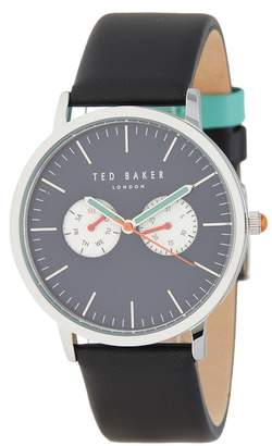 Ted Baker Men's Chronograph Leather Strap Watch, 38mm