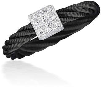 Alor Noir Black Cable Ring w/ Square Diamond Station, Size 6.5