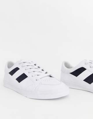 Pull&Bear sneakers with side stripe in white