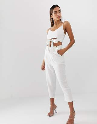 Parallel Lines high waist linen pants co-ord