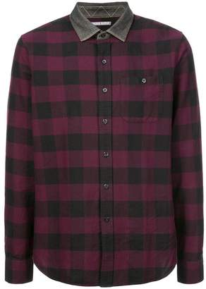 Michael Bastian contrasting collar check shirt