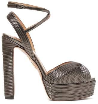 Aquazzura Caprice 130 Metallic Leather Platform Sandals - Womens - Dark Grey