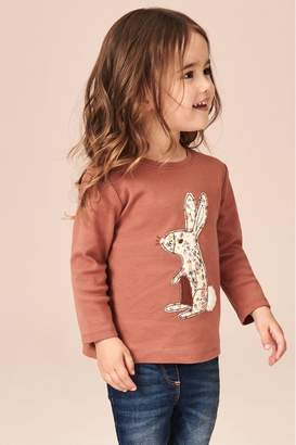 Next Girls Rust Embroidered Bunny Applique Long Sleeve T-Shirt (3mths-7yrs) - Brown