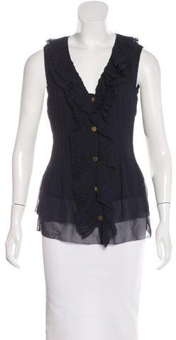 Tory Burch Tory Burch Sleeveless Pleated Top