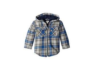 Hatley Blue Plaid Full Zip Hoodie (Toddler/Little Kids/Big Kids)