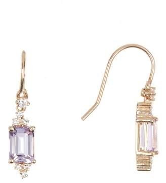 Suzanne Kalan 14K Yellow Gold Rose De France Amethyst White Diamond Earrings