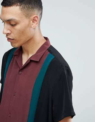 Asos DESIGN Regular Fit Viscose Cut And Sew Shirt with Revere Collar in Black