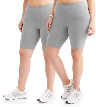 Danskin Women's Plus 2-Pack Active Bike Shorts Bundle