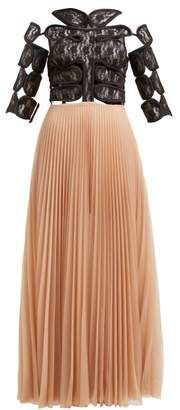 Christopher Kane C String And Pleated Tulle Maxi Dress - Womens - Black Multi