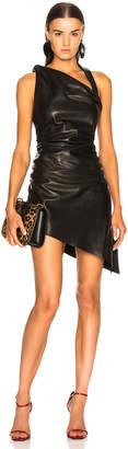 Saint Laurent Draped Leather Mini Dress