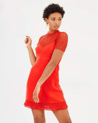 Warehouse Crepe and Lace Dress