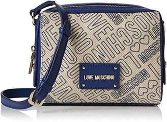 Love Moschino Borsa Canvas Naturale+nappa Pu Blu, Women's Baguette,7x16x20 cm (B x H T)