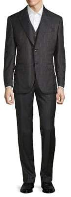 Brioni Metallic Pinstripe Three-Piece Suit