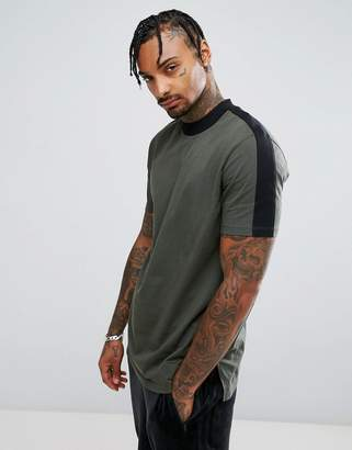 Asos Longline T-Shirt With Contrast Detail