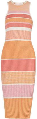 Victoria Beckham Victoria, Striped Stretch-knit Midi Dress - Pink
