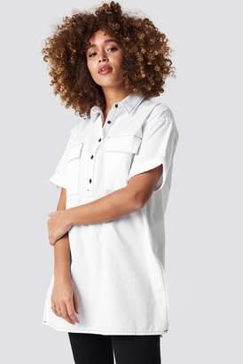 NA-KD Na Kd Patch Pocket Oversized Shirt White