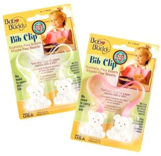 Baby Buddy Bib Clip 2ct for 0-36 Months (Pink/White)