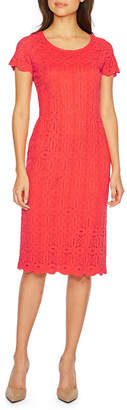 Ronni Nicole Short Sleeve Medallion Lace Sheath Dress