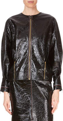 Roland Mouret Davis Zip-Front Patent Napa Leather Jacket