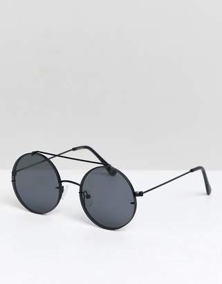 Asos DESIGN round sunglasses in black metal with smoke laid on lens