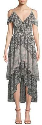 MISA Los Angeles Idalia Floral-Print Ruffle High-Low Dress
