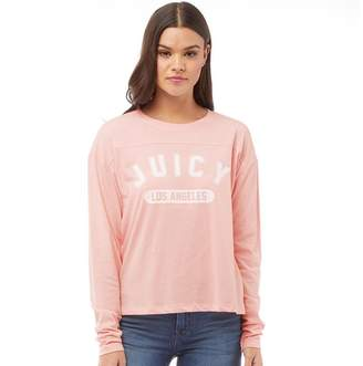 Juicy Couture Juicy By Womens Varsity Logo Graphic T-Shirt Palisades Pink/Cozy Vanilla