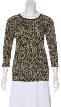 Zac Posen Z Spoke by Printed Three-Quarter Sleeve Top