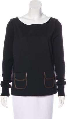 Tory Burch Leather-Trimmed Wool-Blend Sweater w/ Tags