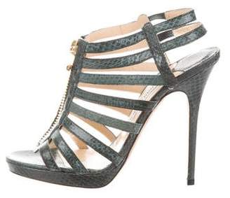 Jimmy Choo Snakeskin Zip-Up Sandals