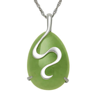 FINE JEWELRY Sterling Silver Swirl Dyed Drop Jade Pendant Necklace
