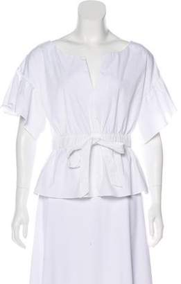 Milly Tie-Accented Short Sleeve Top