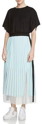 Maje Ranbala Color-Block Pleated Maxi Dress