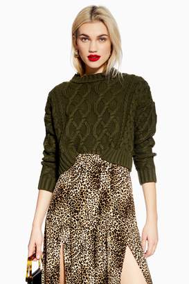 Topshop Womens Petite Cropped Cable Knitted Jumper - Khaki
