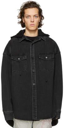 Juun.J Black Denim Oversized Shirt