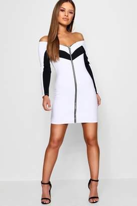 boohoo Petite Zip Detail Bardot Bodycon Dress