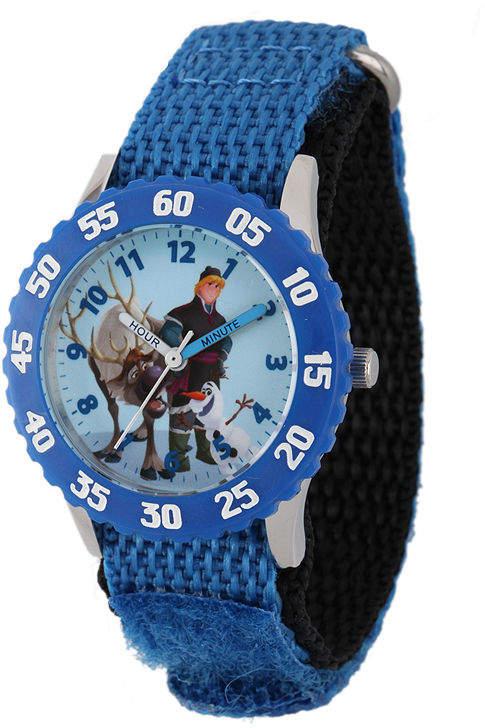 DISNEY Disney Frozen Sven, Kristoff and Olaf Kids Time Teacher Blue Nylon Strap Watch